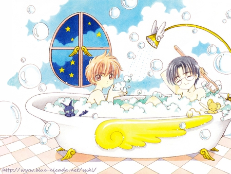 Bath Time! - eriol, spinel sun, li, suppi, bath tub, syaoran, hiiragizawa, bathroom, bubbles, keroberos, clamp, shaoran