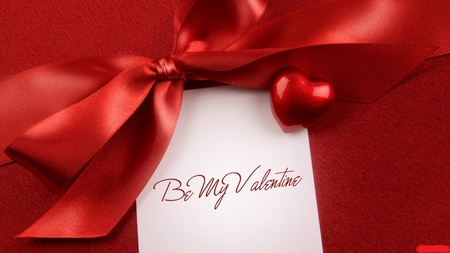 Valentine crush - ribbon, bow, romantic, red, valentine, admire, love, crush, writing, letter, note, heart, question, be my valentine, beautiful, lovely, romance, in love