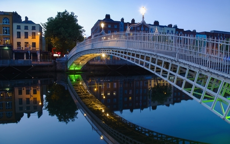 bridge - pedestrian, reflection, bridge, dusk