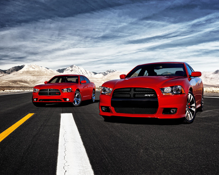 muscle cars - red, snow, mountains, front engine, silver alloys, two seater, blue sky, road