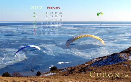 Paragliding over Curonia dunes - world, lithuanian, 2012, kurische, national, curonia, february, between, beautiful, magic, neringa, spit, calendar, sand, dunes, heritage, list, nehrung, legend, beauty, monthly, harmony, unesco, kopos, curonian, unique, park, paraglider, waters, soaring, nature, landscape
