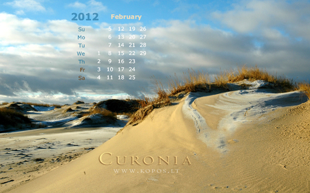 Dreaming dunes of Curonia - 2012, national, magic, snowy, list, legend, beauty, wandering, harmony, unesco, kopos, unique, park, winter, landscape, world, kurische, lithuanian, curonia, february, beautiful, neringa, spit, calendar, sand, dunes, heritage, nehrung, monthly, curonian, strict, reserve, nature