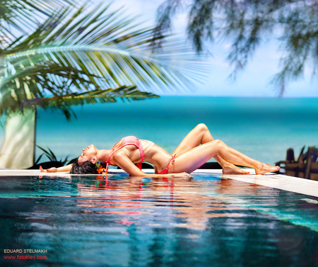 Hot Summer Day - beauty, lovely, blue, bikini, palm leaves, hot, edward stelmakh photo, sea