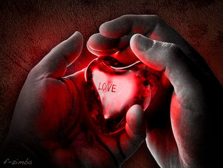 My heart in your hands - hands, red, love, heart, black, holding