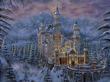 Robert Finale - Neuschwanstein Castle - painting, art, robert finale, neuschwanstein castle