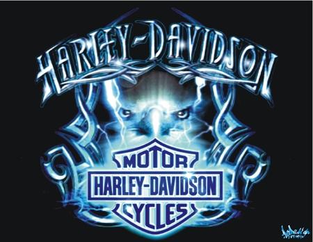 harley-Davidson tribal bleu - logo, motorcycle, bleu, tribal, blue, neon, harley davidson