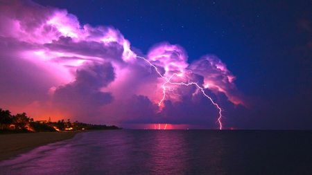 Powerful Nature - coast, clouds, sky, thunderstorm, lightning