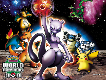Pokemon World Championships - raquaza, shadow ball, milkyway, space, pokemon, blastoise, charzard, pikachu, dragonite, pokemon world championships, anime, mewtwo, poliwrath, galaxies