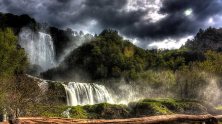 waterfalls hdr - twin falls, hdr, sky, waterfalls