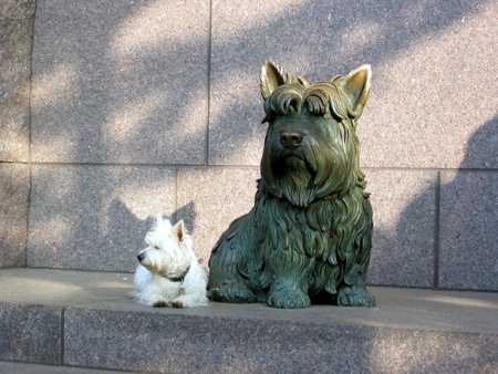 FDR's Fala and little white friend - washington dc, fdr, monuments, fala, dogs