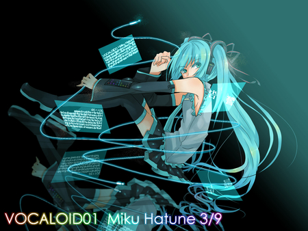 Hatsune Miku - pretty, stunning, cg, thigh highs, nice, anime, aqua, beauty, anime girl, vocaloids, art, twintail, skirt, black, miku, singer, sexy, aqua eyes, cute, headset, hatsune, cool, digital, awesome, white, idol, artistic, hatsune miku, gray, headphones, tie, beautiful, thighhighs, program, twin tail, hot, blue, vocaloid, outfit, amazing, music, diva, microphone, leggings, song, girl, stockings, uniform, virtual, aqua hair