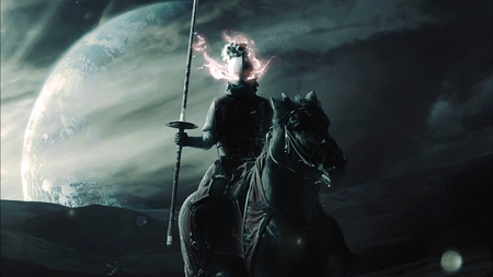 Dark Horseman - pretty, wonderful, stunning, space, clouds, nice, fantasy, rider, outstanding, spear, lance, hills, art, lens flare, man, sky, abstract, dark horseman, planet, mountains, awesome, knight, fighter, beautiful, valley, atmosphere, moon, person, people, amazing, horizon, fantastic, sunlight, horse, universe, skyphoenixx1