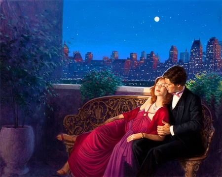 Romantic evening - red dressed, sky, romantic, summer, man, lovers, evening, hugs, woman, moon, night, passion, love