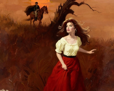 Runaway - maguire, art, gypsy, fantasy, black hair, woman, runaway, man, red, beautiful, horse, field, painting