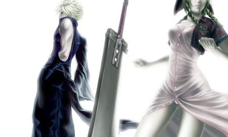 Cloud & Aerith - ff7, ffvii, games, final fantasy 7, video games, white background, duo, final fantasy series, spiky hair, anime, aerith gainsborough, final fantasy, weapon, sword, cloud, skirt, aerith, advent children, final fantasy vii, cloud strife, buster sword, plain background