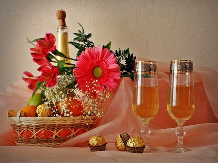 Still life - lovely, bouquet, flowers, gerbera, nice, wine, pretty, still life, candies, champagne, cheers, red, beautiful, glasses, gift
