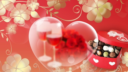 Valentine Surprise - valentines day, candy, romantic, vines, gold flowers, wine glasses, roses, hearts