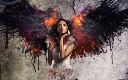 Angel - artistic, wings, dress, paint, angel, manipulation, photography, long hair, feathers