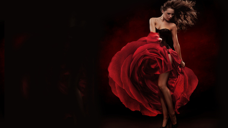 RED ROSE - beautiful, dress, fashion, rose, girl, remarkable, red