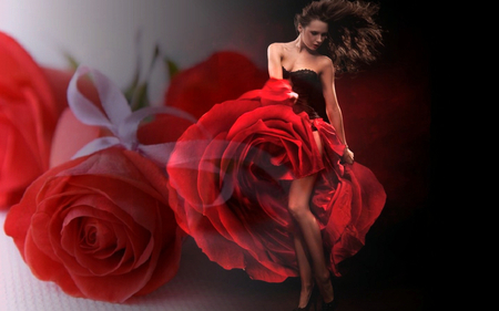 The dancing Queen dance between the roses - art, rose, flowers, dream, fantasy, woman, abstract, red, roses, nature