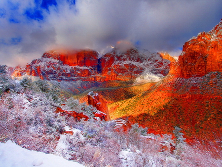 Red mountains - snowy, mountainscape, clouds, wilderness, sky, sunset, red, mountains, slope, nature