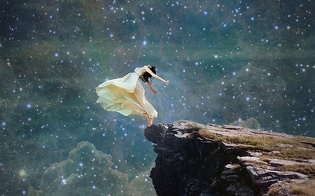 On the Edge - outstreched, hands, stars, woman, on the edge, lady, sky, beautiful, cliff