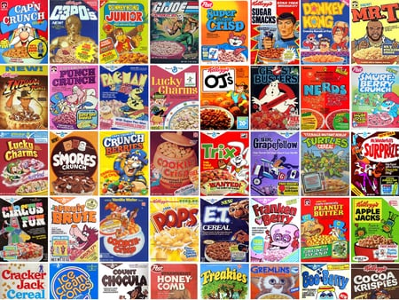 80's Cereals - donkey, 80, nerd, smores, 1980, wonderfulls, crisp, mr, teenage, surprise, ninja, joe, turtles, busters, oj, cereal, ghost, pops, 1980s, pacman, crunch, 80s, puffs, indiana, c3po, pac-man, smurf, mutant, cookie, berry, t, capn, gremlins, classic, lucky, charms, vintage, fun, kong, jones, circus, trix, et, cocoa, gi