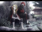 Deidara and Sasori at a garden
