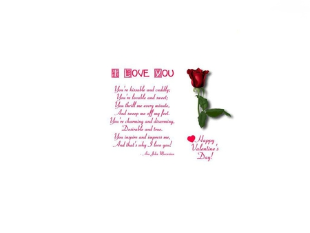 I love you - valentine, heart, rose, writing, poetry, words, white, flower, romance, poem, lover, romantic, sentimental, red, beautiful, valentines day