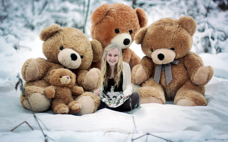 Teddy Bear hugs - sitting, snow, winter, girl, teddy bears, big, beautiful, smiling