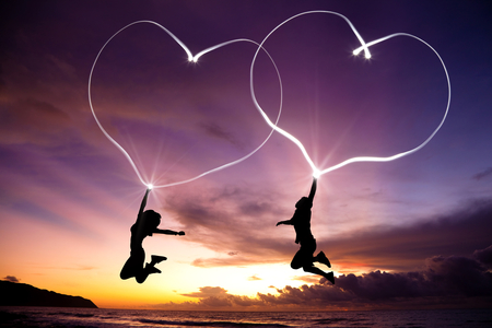 Beautiful Heart - men, love, heart, beautiful, sunset, sky, women, sweet
