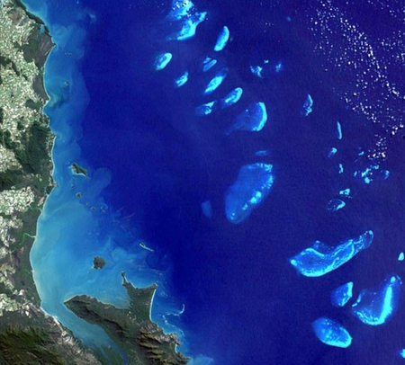The Great Barrier Reef from space - queensland, australia, barrier, reef