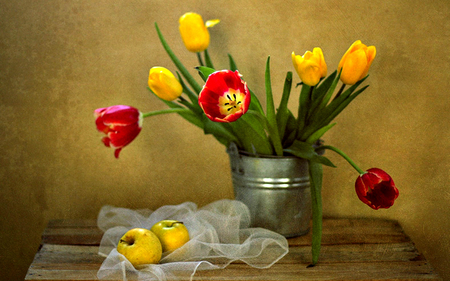 Still Life - with love, red, pretty, colorful, red tulips, yellow tulip, yellow, beautiful, bucket, still life, photography, flowers, beauty, tulips, for you, tulip, apple, lovely, apples, colors, yellow tulips, red tulip, nature