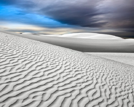 White Sands - sand, sky, white, clouds