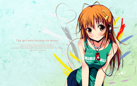 Music can you feel it - cute, girl, anime, music, orange eyes, headphones, orange hair