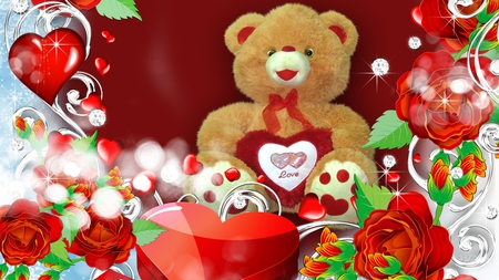 Special Valentine Bear - valentines day, red roses, special, romance, gift, hearts, sweet, cute, love, teddy bear
