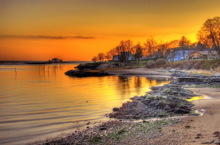 Golden Sky - shore, houses, golden, sunset, reflections, sky, lake