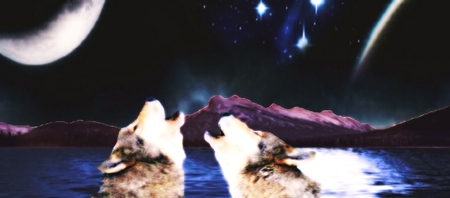 Voices of The Night - mountain, moon, water, sing, wolves