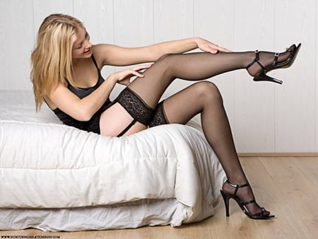 Legs stockings heels