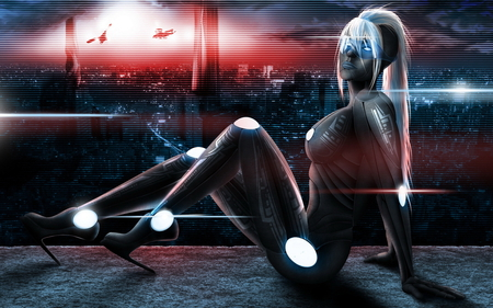 Future Girl - cg, pose, hd, neon, digital painting, hot, style, blonde, sexy, cool, fantasy, robot, future, girl, female, hair