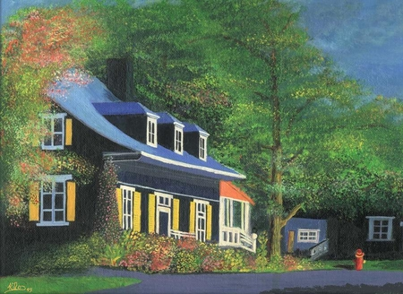 canadian house oil painting painted by Saad KILO - house, paintings, oil, nature, old