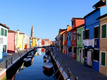 Colorful Lagoon - lagoon, boats, houses, colors, reflections