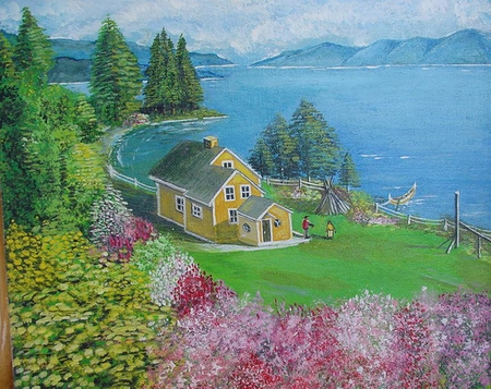 Canadian House ,Nature painted by saad kilo-montreal 1998 - oil painting, house, cottage, beach, beaches, quebec, flowers, river, landscape, canada