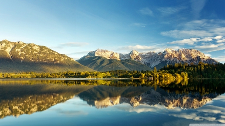peaceful lake - forest, ambition, cloud, mountains, nature, sky, lake, blue