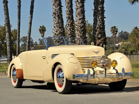 1937 Cord 812 Phaeton - 1937, phaeton, palm, cord, 37, elegant, tree, antique, sc, car, 812, classic, luxury, vintage