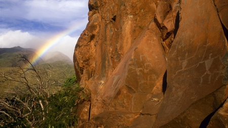distant rainbow - mountain, photography, colors, beauty, nature, rainbow, clouds, sky