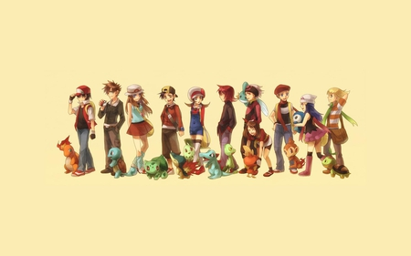 Pokemon Players - trainers, ethan, chikorita, totodile, pokemon, squirtle, piplup, bulbasaur, lucas, dawn, charmander, ash, pokemon trainers, cyndaquil, mudkip, leaf, chimchar, torchic, lyra, treecko, turtwig