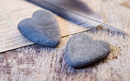 Stone hearts AND Feathers - pretty, stones, feather, love, heart, story