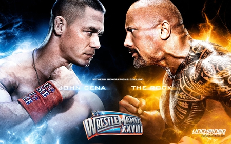 Wrestlemania 28: John Cena vs The Rock - wrestlemania 28, miami, john cena, wrestling, wrestlemania, wwe, the rock