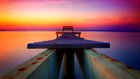 the multicoloured dock - dock, beatiful, seascapes, pier, peaceful, sky, lake, sea